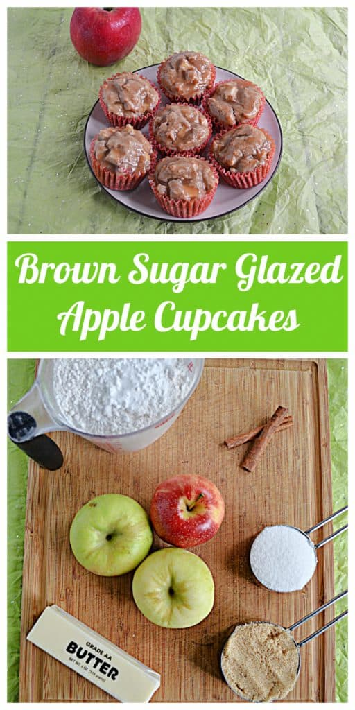 Pin Image: A plate with 7 apple cupcakes topped with brown sugar on it and an apple behind the plate, text, a cutting board with apples, a stick of butter, cinnamon sticks, a cup of flour, sugar, and brown sugar on it.