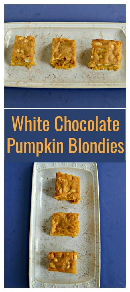 Pin Image:   A white platter sitting horozontally on a blue background with 3 blondies on the platter, text overlay, a white platter with 3 blondies on it on a blue background.