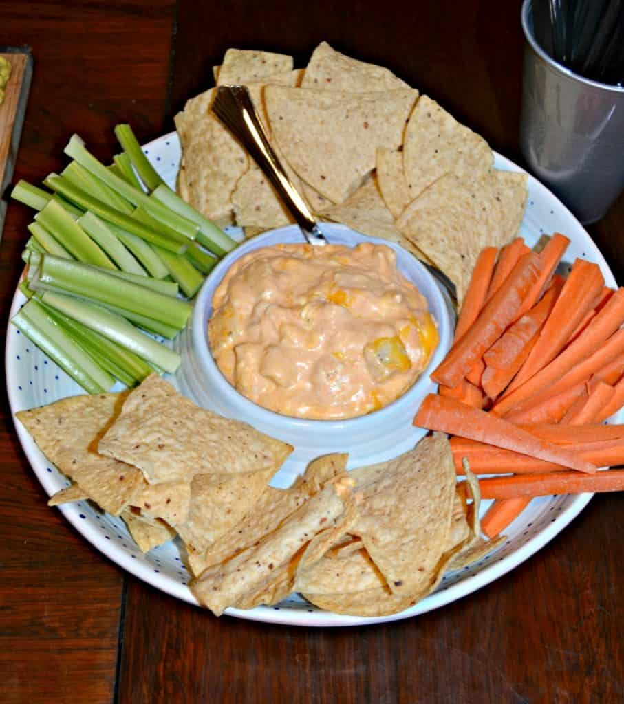 Buffalo Chicken Dip with tortilla chips