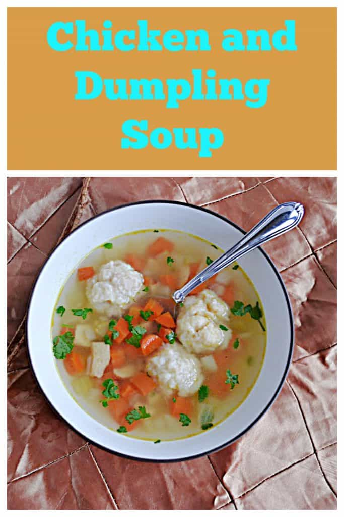 Pin Image: Text, A big bowl of Chicken and Dumpling soup with three big dumplings in it and a spoon.