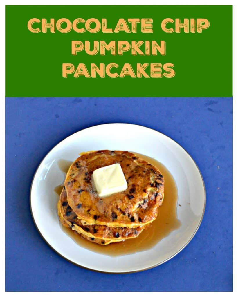 Pin Image: Green and orange text, A white plate topped with a stack of three orange colored pumpkin pancakes studded with chocolate chips with a large pat of butter in the center and covered in syrup on a blue background.