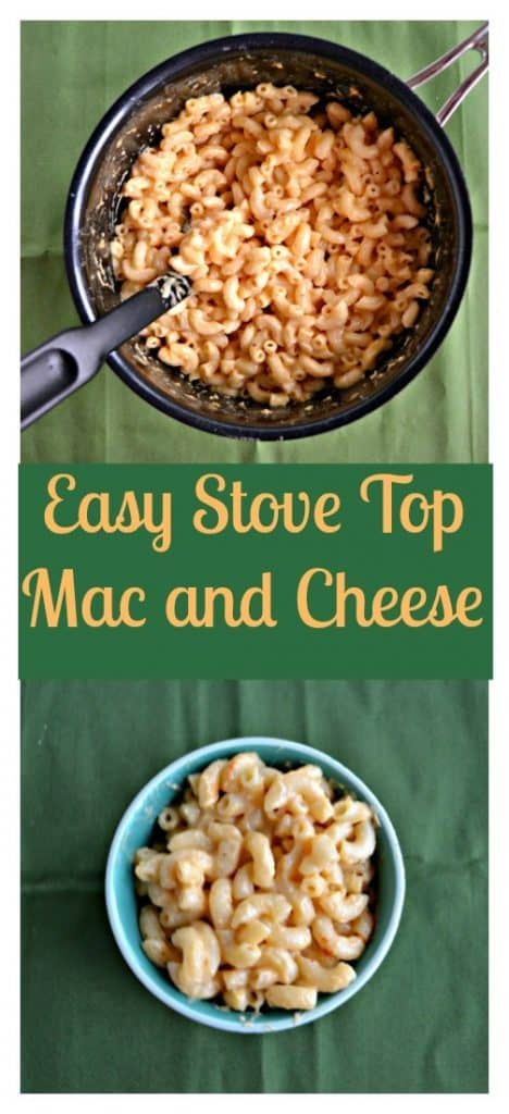 Pin Image: A skillet filled with macaroni and cheese and a large black spoon in the skillet all on a green background, text overlay, A small bowl filled with macaroni and cheese on a green background.