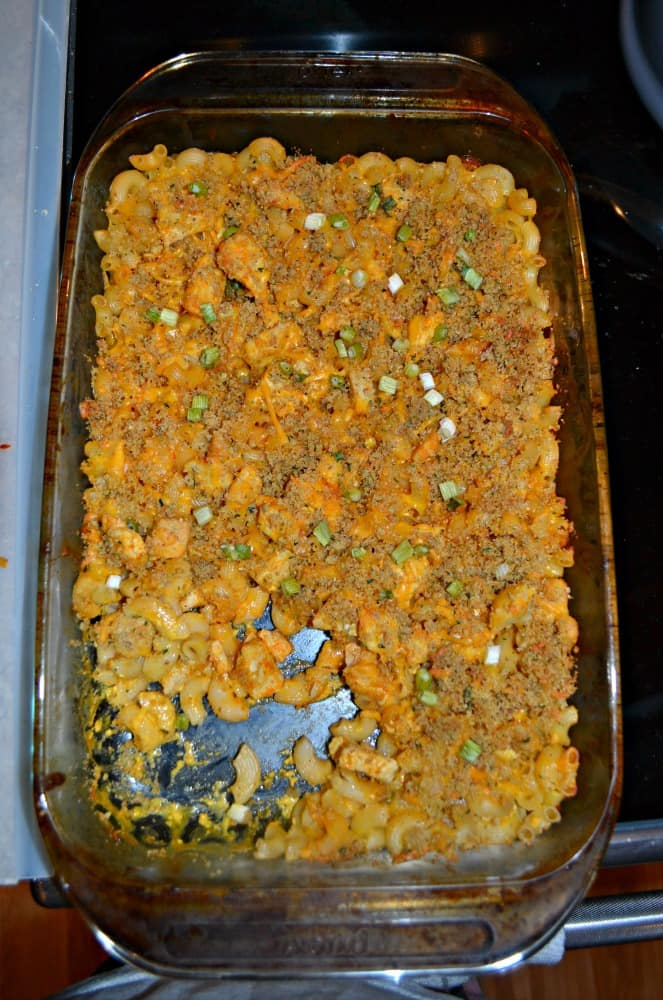 Buffalo Chicken Mac n Cheese is a delicious baked one dish meal!