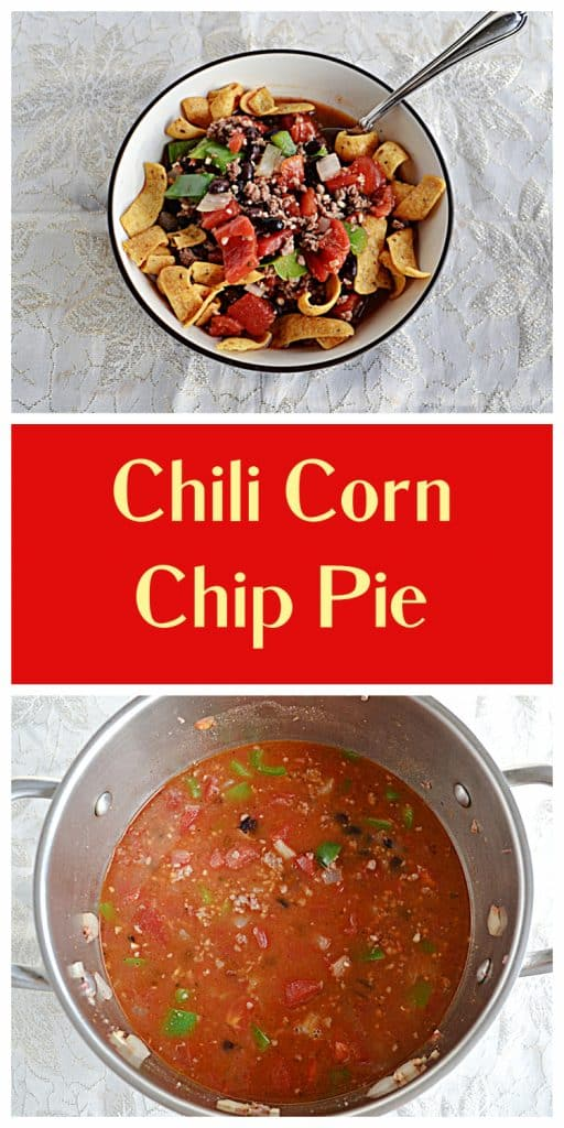 Pin Image: A bowl of corn chips and chili with a spoon in it, text, a pot filled with chili.