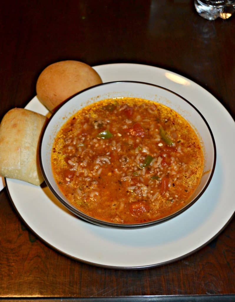 Stuffed Pepper Soup with Rolls