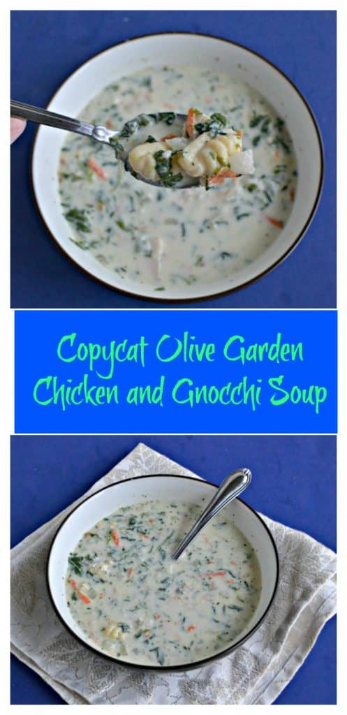 Pin Image: A bowl of white, creamy soup with a spoonful in front that has bits of carrots, spinach, and potato gnocchi on it on a blue background, text overlay, A bowl of creamy white soup dotted with carrots, spinach, and gnocchi with a spoon in it on a white napkin with a blue background.