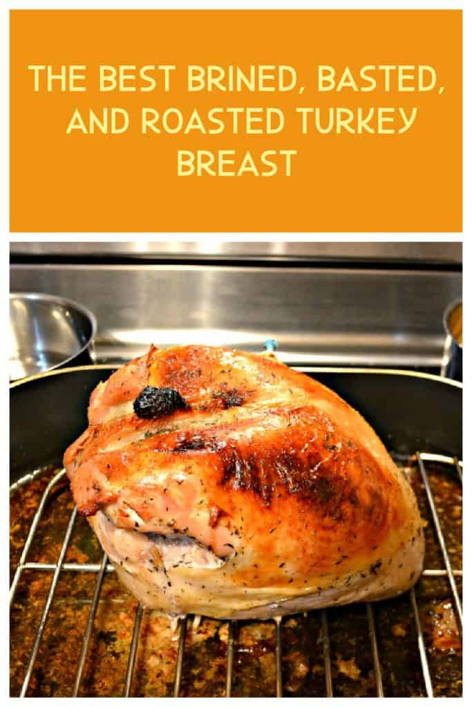 Pin Image: Text Overlay, A golden brown turkey breast sitting on a rack in a roasting pan.