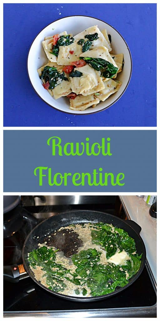 Pin Image:  A close up view of a bowl of ravioli topped with spinach and bacon, text, a skillet filled with spinach cooking in garlic butter.