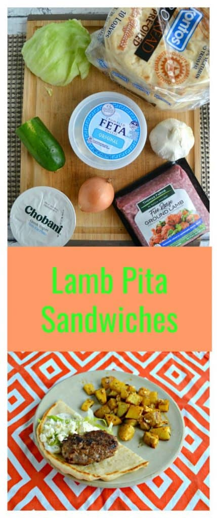 Pin Image-Ingredients for Lamb Pita Sandwiches with text overlay
