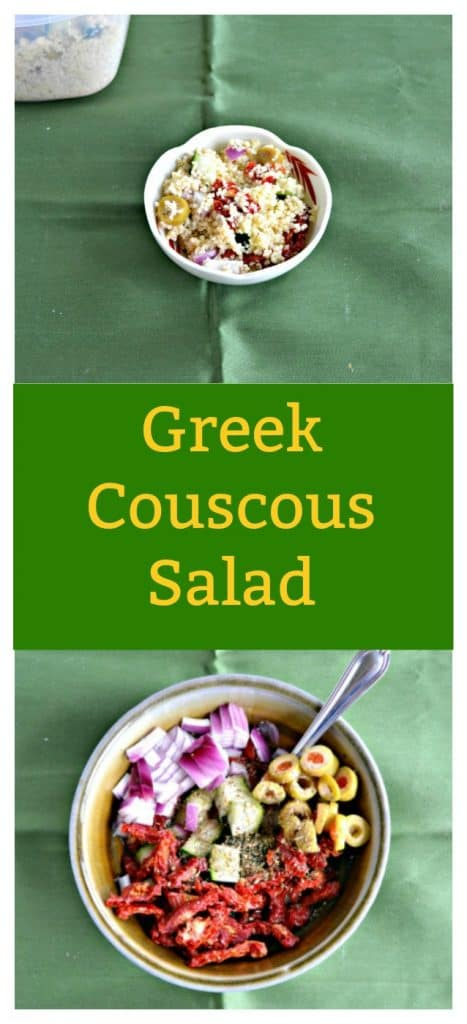 Pin Image- Greek Couscous Salad with text overlay