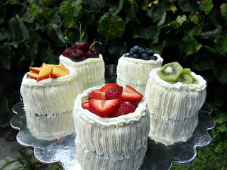 Individual Angel Food Cakes filled with Lemon Curd and topped with fruit