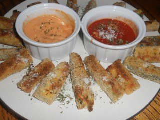 Crispy Baked Zucchini Fries with two dipping sauces