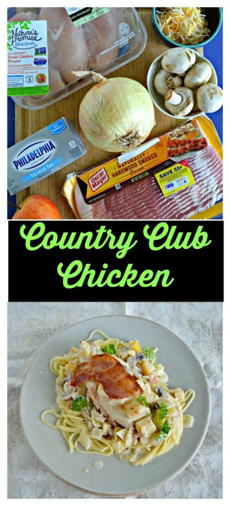 Pin Image: A cutting board with ingredients on it including cream cheese, chicken breasts, onions, mushrooms, peppers, and bacon, text overlay, A plate piled high with spagehtti noodles, a creamy sauce, a large chicken breast topped with crispy bacon and fresh parsley on top.