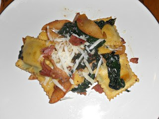 Ravioli with Apples, Bacon, and Spinach is a slightly sweet and salty pasta dish.
