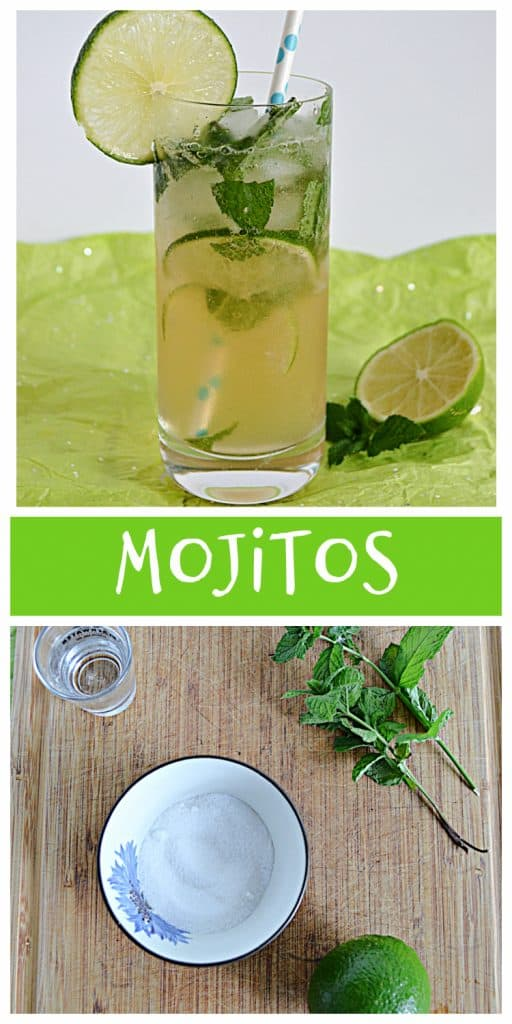 Pin Image; A tall glass with a mojito in it with lime slices and mint leaves floating in it and a straw sstuck in the glass and a half lime beside the glass, text, a cutting board with mint leaves, a lime, a shot glass of rum, and a bowl of sugar.