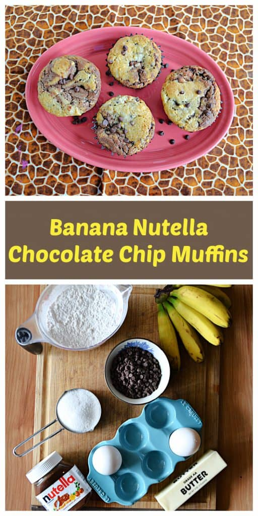Pin Image: A pink platter topped with 4 banana chocolate chip muffins and two bananas on the side, text, a cutting board with bananas, a cup of flour, a cup of chocolate chips, a jar of Nutella, a few eggs, and a stick of butter.