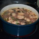 Mixed Greens and Sausage Soup with Dumplings