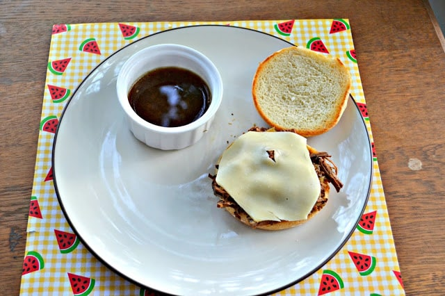 Easy French Dip Sandwiches in the Crock-Pot  www.hezzi-dsbooksandcooks.com