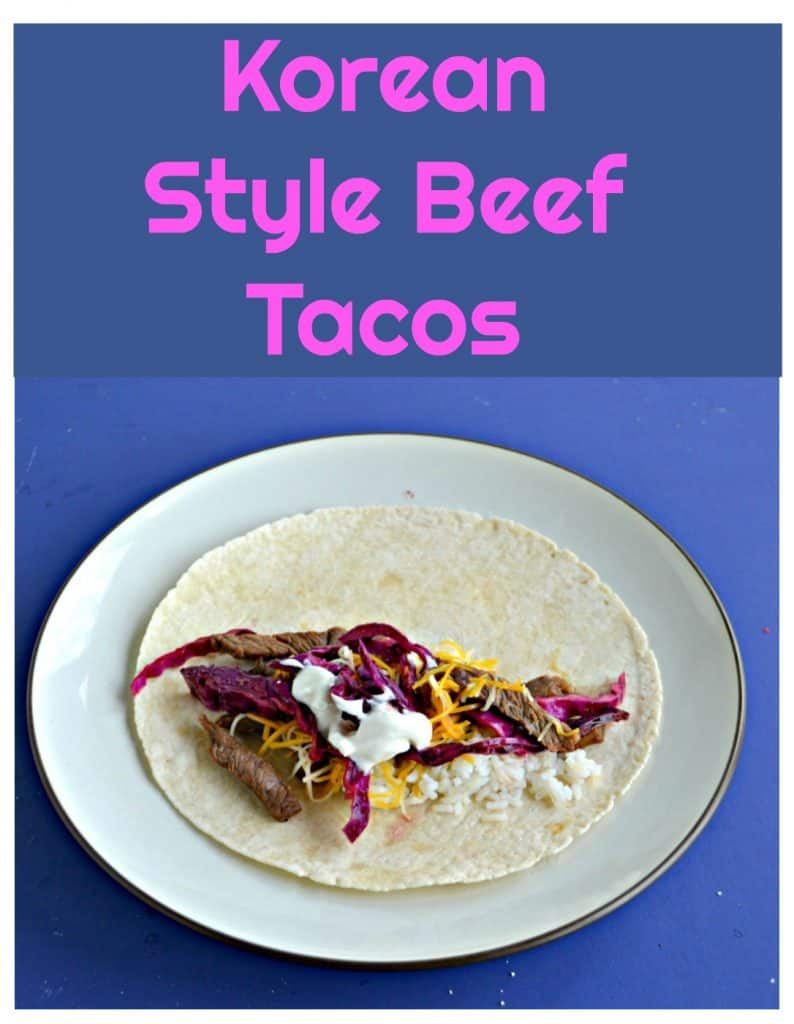 Pin Image: A plate with beef and pickled cabbage on a tortilla with text overlay.