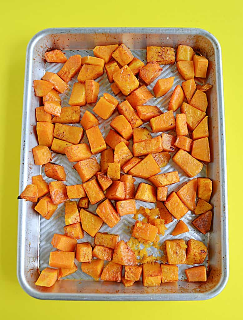 A pan of roasted butternut squash