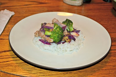 Pork Stir Fry with Avocado Ginger Sauce