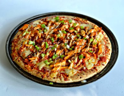 Spicy buffalo chicken and cool ranch pizza