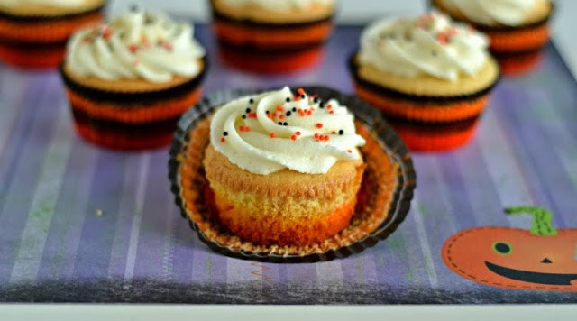 Candy Corn Cupcakes with Caramel Frosting
