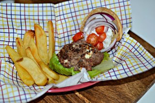 Greek Style Hummus Burger #Sabra #hummus from Hezzi-D's Books and Cooks