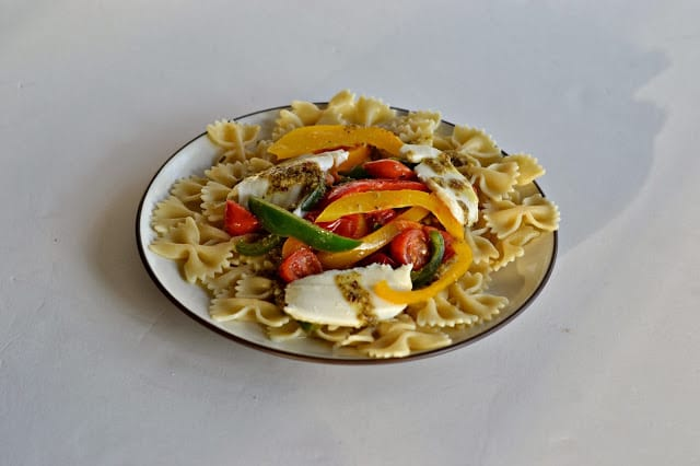 Colored peppers, frest tomatoes, and mozzarella pasta with Basil Garlic Butter from Hezzi-D's Books and Cooks
