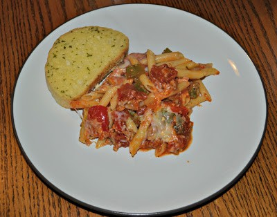 Baked Penne with Peppers and Sausage Recipe is great for weeknight meals