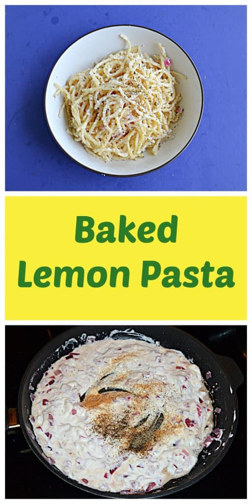 Pin Image: A bowl of spaghetti tossed with creamy lemon sauce and topped off with Parmesan cheese, text, a skillet with a cream sauce sprinkled with spices.