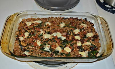 Mushroom and Barley Casserole with Bacon, Gruyere, and Spinach