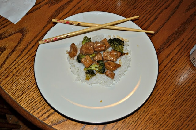 Delicious homemade pork teriyaki and broccoli over rice.