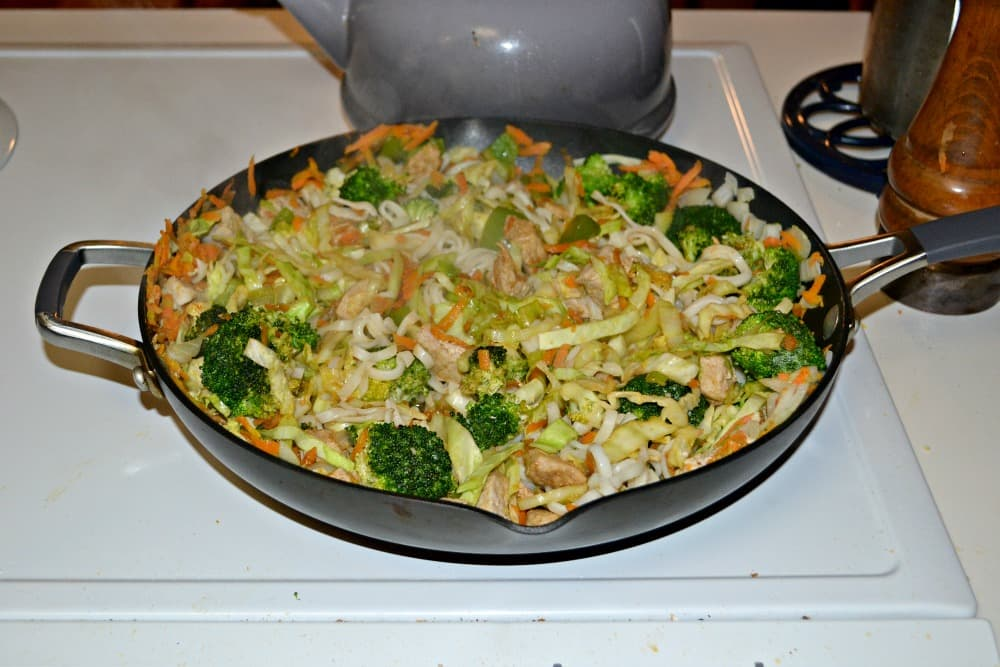 Pork and vegetable stir fry over noodles
