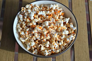 Sriracha Popcorn from Hezzi-D's Books and Cooks