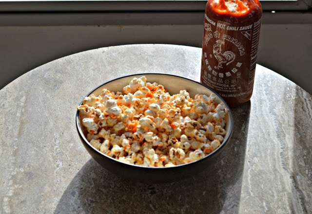 Spicy Sriracha Popcorn from Hezzi-D's Books and Cooks