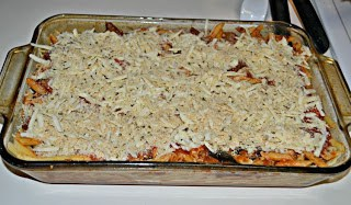 Penne Pasta with Eggplant and Fontina Cheese Baked in the Oven
