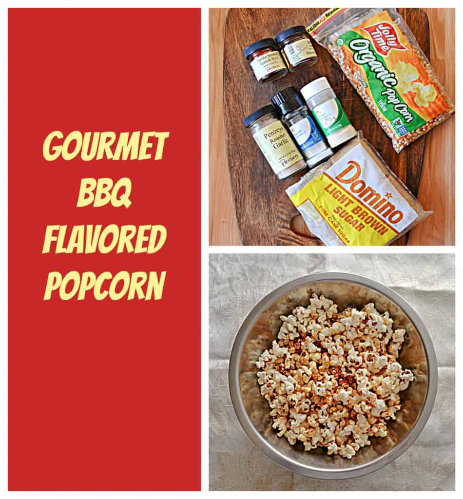 Pin Image: Text overlay, a cutting board topped with brown sugar, a bag of popcorn kernels, bottles of garlic powder, salt, paprika, chili powder, and onion powder, and a silver bowl filled with popcorn ssprinkled with red BBQ seasoning on it on a white background.