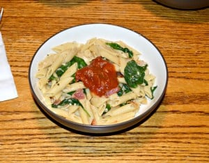 Risotto Style Penne with Bacon and Spinach