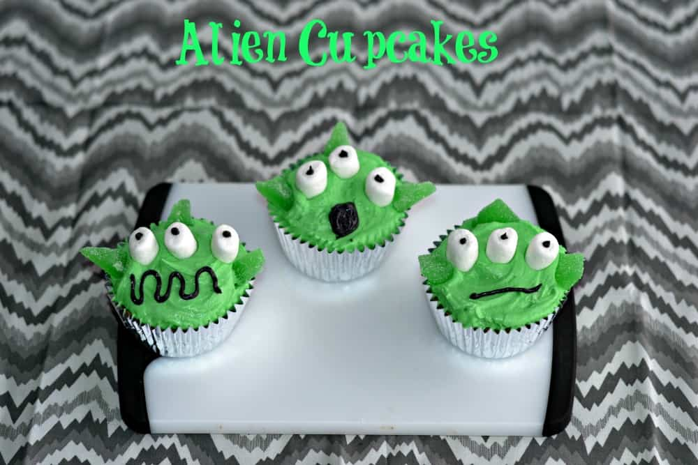 Alien Cupcakes are great for kids!   www.hezzi-dsbooksandcooks.com