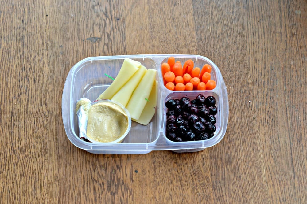 Balanced Bento with hummus, Alpine Lace Deli cheese, fresh berries, and carrots.