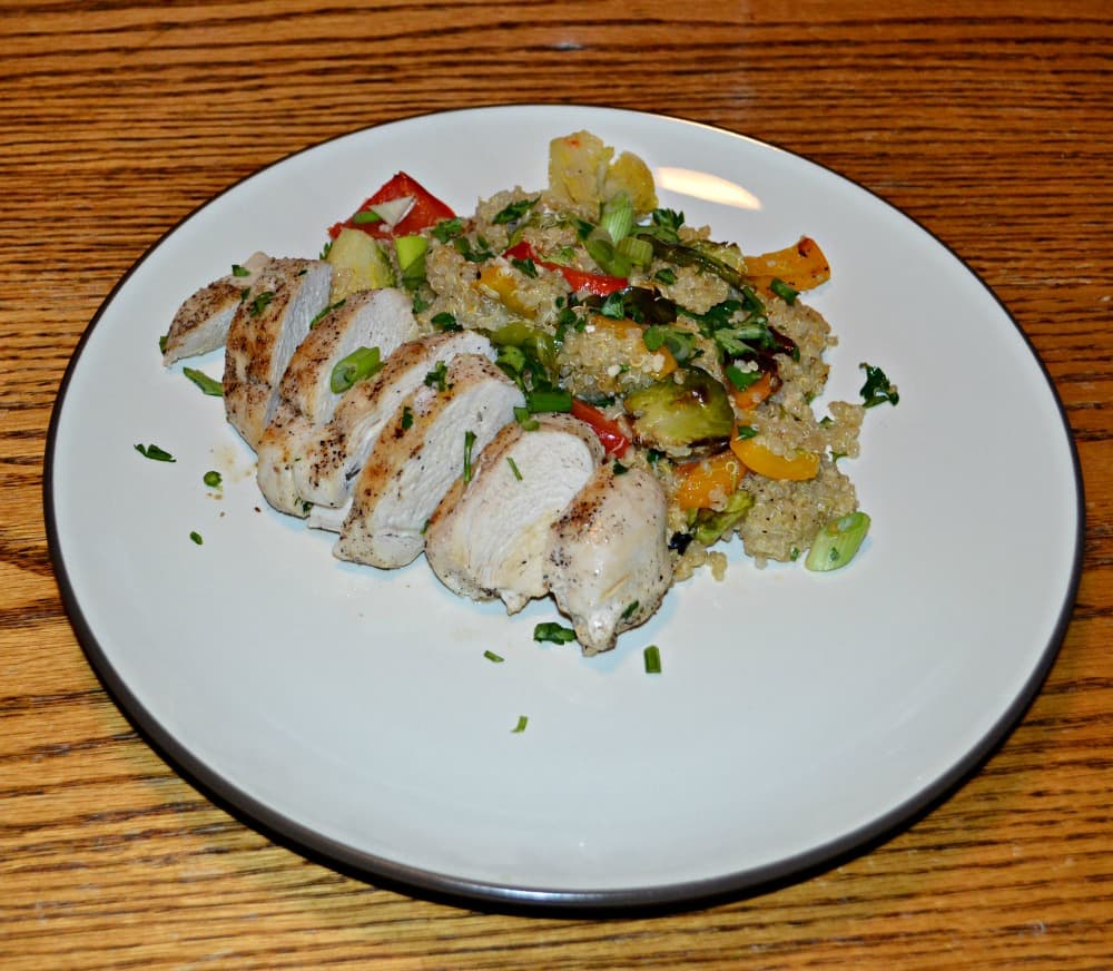 Quinoa and Roasted Vegetable Salads with Chicken