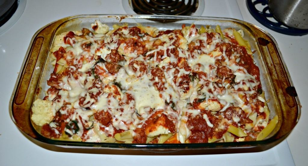 Baked Penne with Roasted Caulfilower and Italian Sausage from Hezzi-D's Books and Cooks