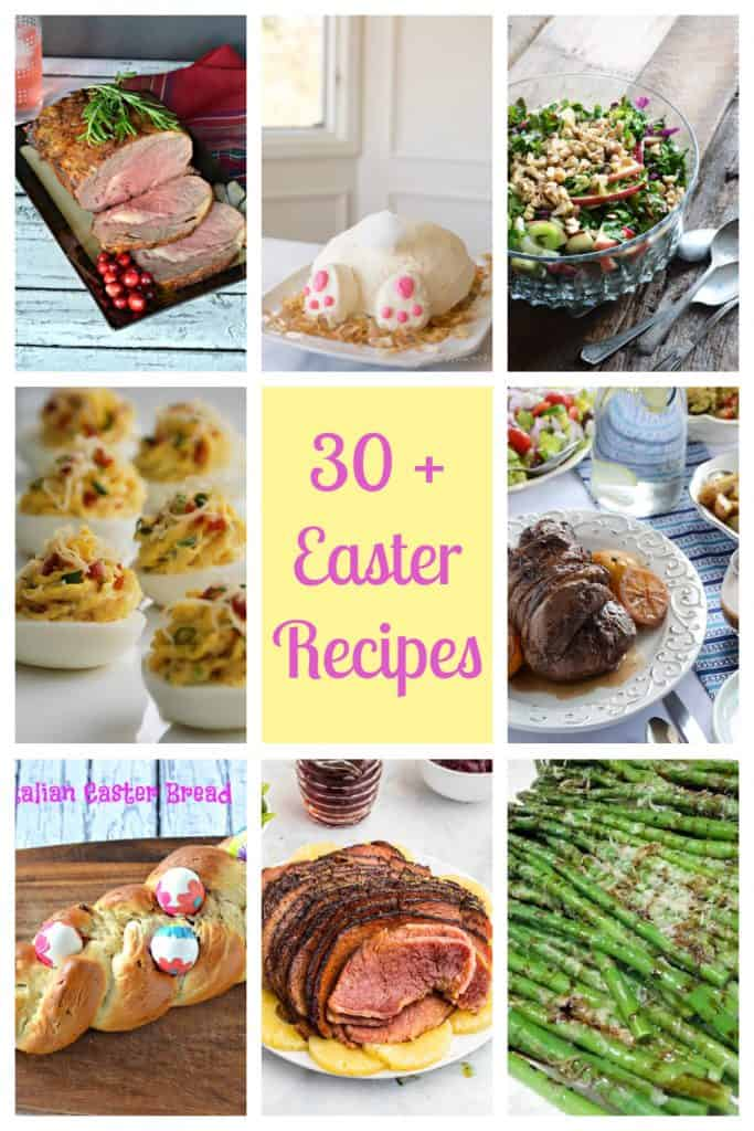 Pin Image: Text at the center with 8 images around it: A beef roast, a bunny butt cake, a salad, deviled eggs, lamb, Easter bread with Easter eggs, ham, asparagus.
