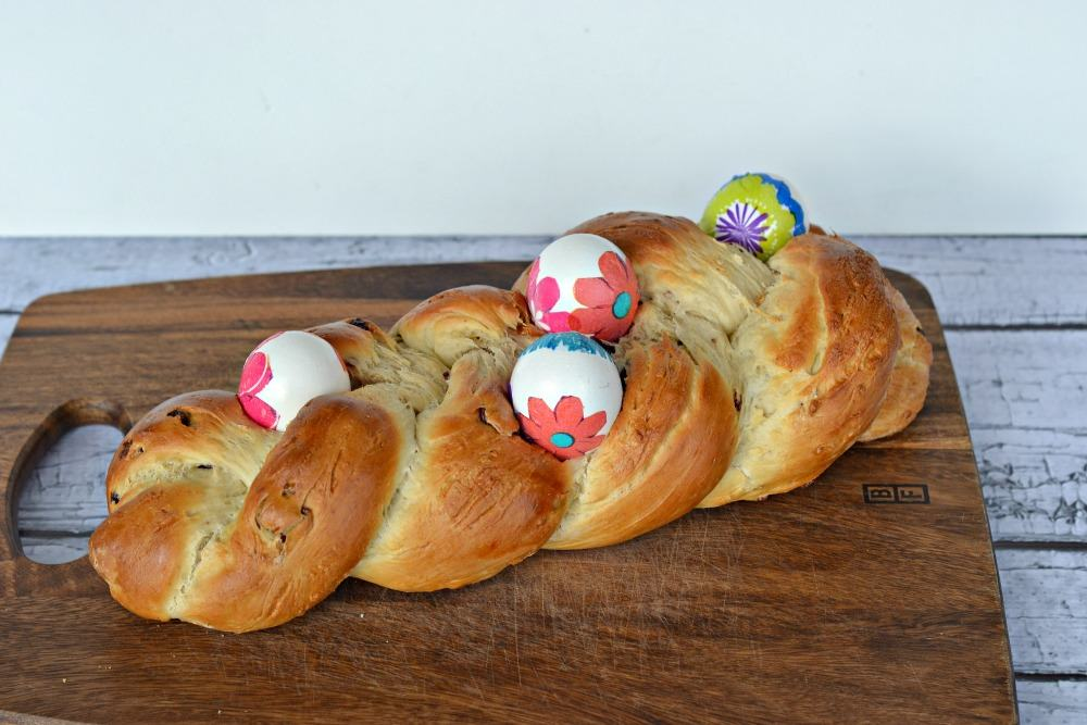 Gorgeous Easter bread studded with nuts and craisins