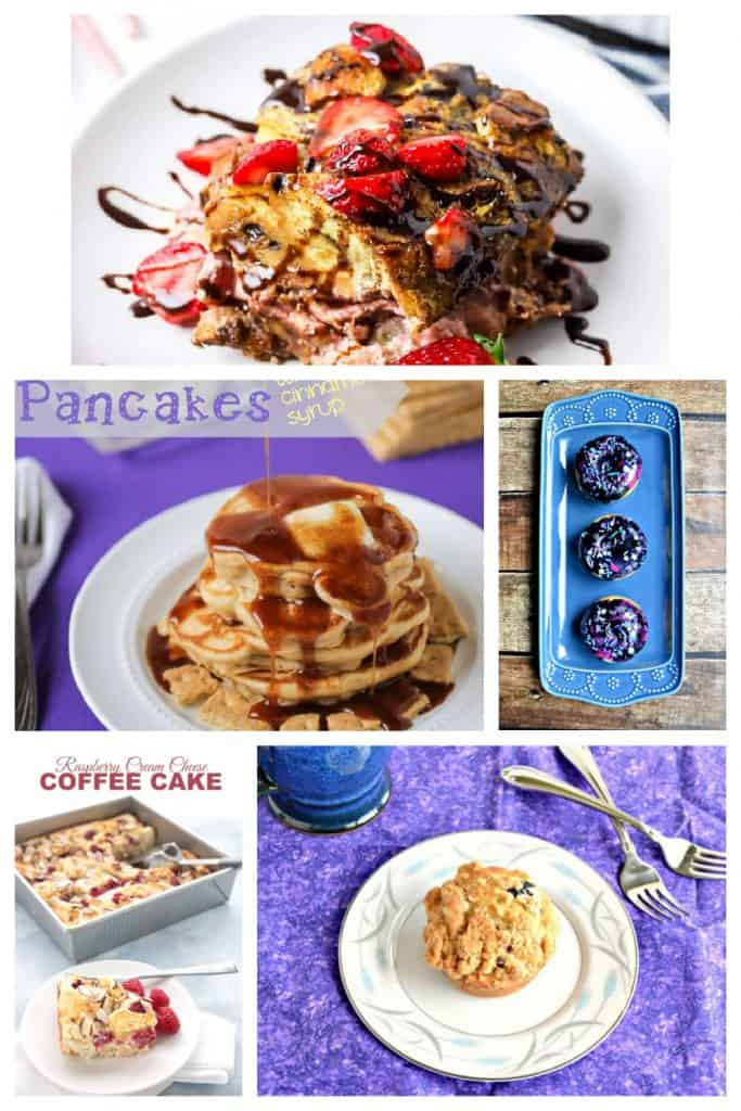 Pin image: A strawberry and chocolate French toast casserole on a plate, a plate piled high with pancakes swimming in syrup, a platter with threre Galaxy frosted donuts, a pan of strawberry cinnamon rolls, a plate with a blueberry muffin on it.