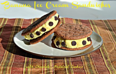 Banana Ice Cream Sandwiches with Chocolate Hazelnut Cookies