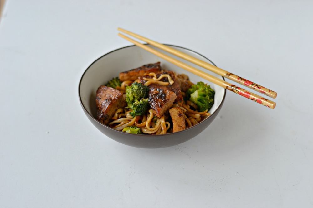 Black Pepper Tofu with Black Garlic Sauce and Noodles :  www.hezzi-dsbooksandcooks.com