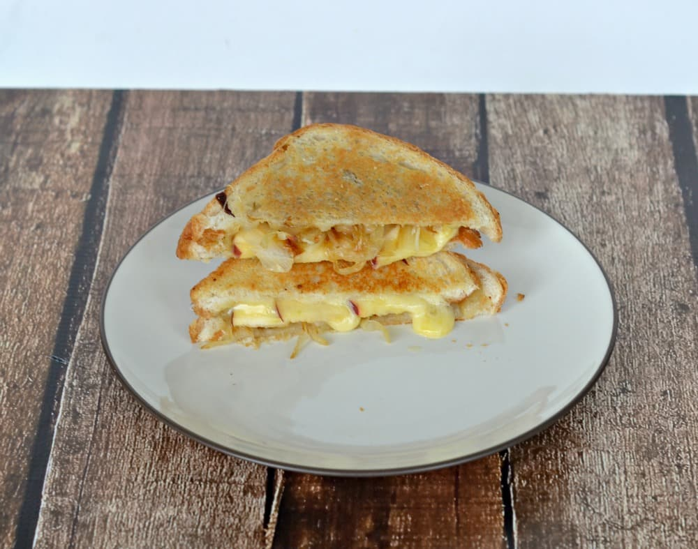 Gourmet Grilled cheese with cheddar, apples, and onions