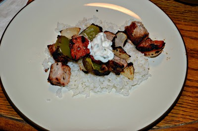 Grilled Pork Kebabs with Tzatziki sauce